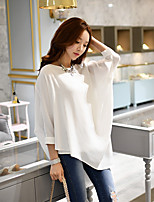 Women's Going out Casual/Daily Holiday Simple Punk & Gothic Sophisticated Spring Summer Blouse,Solid Round Neck ¾ Sleeve Polyester