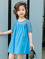 Girl's Casual/Daily Solid Dress,Cotton Polyester Summer Sleeveless