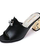 Women's Slippers & Flip-Flops Spring Summer Comfort PU Casual Chunky Heel Block Heel Rhinestone Walking