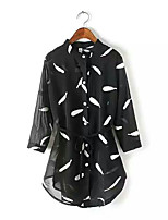 Women's Going out Simple Blouse,Print Shirt Collar ¾ Sleeve Others