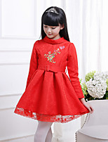 Girl's Casual/Daily Solid Dress,Bamboo Fiber Spring Long Sleeve