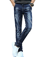 Men's Mid Rise Micro-elastic Jeans PantsSimple Slim Solid ACD-A136