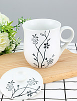 High temperature porcelain Drinkware with black flower finish 320ml