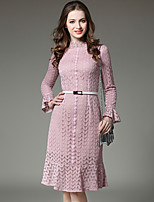 Spring Summer Women For Dresses Trumpet/Mermaid Dress Stand Solid Color Lace Collar Long Sleeve Dress
