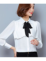 Women's Going out Casual/Daily Vintage Simple Spring Summer Blouse,Solid Jacquard Shirt Collar Long Sleeve Others Thin