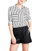 Women's Casual/Daily Simple Shirt,Striped Shirt Collar Long Sleeve Polyester