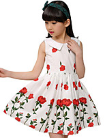 Girl's Casual/Daily Beach Holiday Solid Floral Dress,Cotton Summer Spring Fall Sleeveless