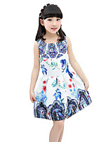 Girl's Beach Floral Patchwork Dress,Cotton Polyester Summer Spring Sleeveless