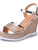 Women's Heels Summer Slingback Club Shoes PU Outdoor Casual Wedge Heel Sequin Walking
