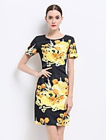 YZXH Women's Going out Sexy Sophisticated Sheath Dress,Floral Round Neck Above Knee Short Sleeve Polyester Summer Mid Rise Inelastic Thin