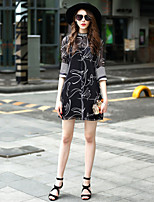 Women's Going out Casual/Daily Loose Dress,Galaxy Round Neck Above Knee ½ Length Sleeve Polyester Spring Summer Low Rise Inelastic Medium