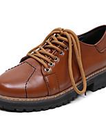 Feminino-Oxfords-Sapatos clube-Salto Baixo-Preto Marron-Couro Ecológico-Escritório & Trabalho Social Festas & Noite