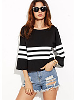 Women's Going out Casual/Daily Vintage Simple Spring Summer T-shirt,Striped Round Neck ¾ Sleeve Cotton Opaque