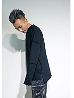 Men's Casual/Daily Sweatshirt Solid Round Neck Micro-elastic Cotton Long Sleeve Spring Fall