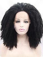 Fashion Afro Kinky Curly Hair for Black Women Natural Black Color Kinky Curly Lace Wigs African American Synthetic Wigs Heat Resistant Glueless