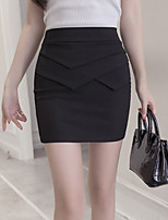 Women's High Rise Casual/Daily Work Above Knee Skirts,Simple Bodycon Tulle Solid Summer