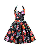 Women's Work Party Vintage Sophisticated Sheath Dress,Print Halter Above Knee Sleeveless Rayon Spandex All Seasons Mid Rise Inelastic Thin