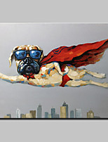 Hand-Painted Modern Abstract Oil Painting On Canvas Superdog Wall Picture For Home Decoration Ready To Hang