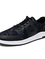 Hombre-Tacón Plano-Confort Suelas con luz-Zapatillas de deporte-Exterior Informal-Tul-Negro/Rojo Negro / azul