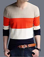 Herren Standard Pullover-Lässig/Alltäglich Gestreift V-Ausschnitt Langarm Baumwolle Frühling Herbst Mittel Mikro-elastisch