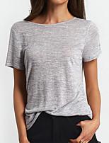 Tee-shirt Femme,Couleur Pleine Sortie Décontracté / Quotidien Vacances Vintage Chic de Rue Eté Manches Courtes Col Arrondi CotonOpaque