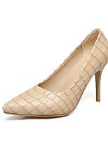 Damen-High Heels-Kleid-Kunstleder-Stöckelabsatz-Komfort-Gold Schwarz Silber Mandelfarben