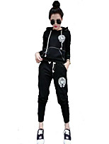 Women's Casual/Daily Simple Spring Fall Hoodie Pant Suits,Solid Hooded Long Sleeve Cotton Acrylic Polyester Micro-elastic