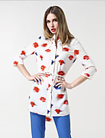 Women's Casual/Daily Simple Summer Blouse,Print Round Neck ¾ Sleeve Rayon Thin