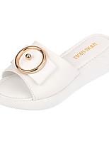 Белый Оранжевый Зеленый-Для женщин-Для прогулок Повседневный-Дерматин-На плоской подошве-Удобная обувь Светодиодные подошвы-Тапочки и
