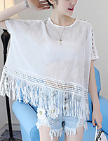 Women's Casual/Daily Street chic Summer Loose T-shirt Solid Lace Cut Out Tassel Round Neck Short Sleeve Nylon WhiteThin