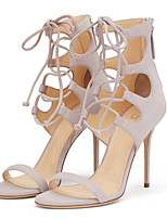 Women's Sandals Spring Summer Fall Comfort Novelty Suede Wedding Party & Evening Dress Stiletto Heel Zipper Lace-up Walking