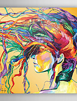 Hand-Painted  Abstract a Woman with Color Hairs Canvas Oil Painting With Stretcher For Home Decoration Ready to Hang