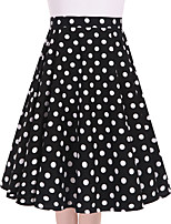 Women's Black White Polka Dot Going out Casual/Daily Knee-length Skirts Vintage Swing Dress All Seasons Mid Rise
