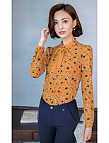 Women's Going out Simple Blouse,Floral Round Neck Long Sleeve Cotton