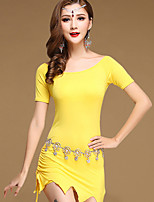 Belly Dance Dresses Women's Training Cotton / Modal 2 Pieces Solid Short Sleeve Dance Costumes Natural Dress Shorts Yellow / Blue / Black / Burgundy