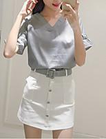 Sign summer new V-neck halter blouse striped shirt + breasted skirt suit skirt package belt