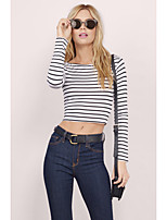 Striped short paragraph long-sleeved T-shirt Europe and America sexy ladies lo shi T-shirts