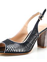 נשים-סנדלים-סינטתי עור פטנט דמוי עור-רצועה אחורית נעלי מועדון-כסף/ שחור-משרד ועבודה שמלה יומיומי-עקב עבה
