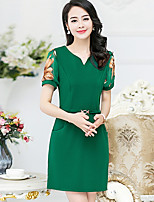 Women's Plus Size Going out Simple A Line Dress,Print Round Neck Above Knee Short Sleeve Polyester Summer Fall Mid Rise Micro-elastic