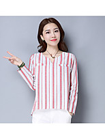 Women's Casual/Daily Simple Blouse,Striped V Neck Long Sleeve Nylon Thin