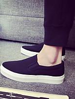 Черный Черно-белый-Для мужчин-Повседневный-Полиуретан-На плоской подошве-Удобная обувь-Кеды