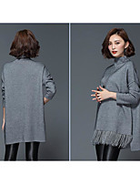 Women's Going out Casual/Daily Holiday Simple Street chic Sophisticated Regular Cardigan,Solid Stand Long Sleeve Rayon Fall Winter Medium