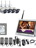 strongshine® 4ch h.264 встроенный 2TB HDD беспроводной NVR с 11-дюймовым дисплеем 960P водонепроницаемой инфракрасной беспроводной IP-камерой