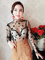 знак NETT +2017 марлевые рубашки женщин с длинными рукавами кружева перспектива сексуальных черными марлевыми рубашек звезды