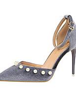 Damen-High Heels-Kleid-Wildleder-Stöckelabsatz-Komfort-Grau Grün Rosa Burgund Champagner