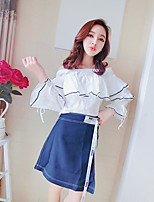 Women's Casual/Daily Cute Summer T-shirt Skirt Suits,Solid Off Shoulder Long Sleeve Cotton