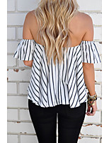 2017 Europe AliExpress ebay spring and summer striped sexy off shoulder blouse