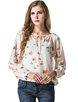 Women's Casual/Daily Sexy Simple Spring Summer T-shirt,Animal Print V Neck Long Sleeve Polyester Translucent Thin