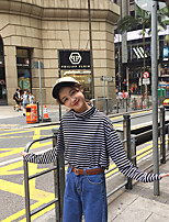 Women's Casual/Daily Simple T-shirt,Striped Turtleneck Long Sleeve Cotton
