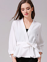 Women's Going out Casual/Daily Sexy Simple Spring Summer Shirt,Solid V Neck ¾ Sleeve White Black Orange Polyester Opaque